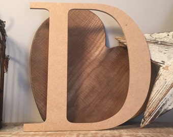 "wooden letters, wall letter, not free-standing, unpainted, Roman font, letter D,  12"" - READY TO SHIP"