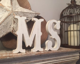 Freestanding Wooden Wedding Letters, Pair, Set of 2 - 15cm - Western Style Font, Carnival