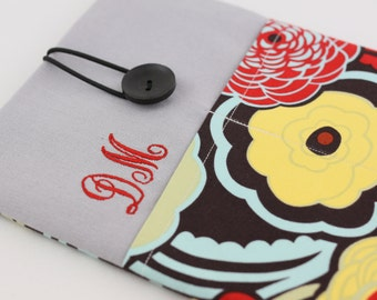 Embroidered Name iPad Case, iPad Air Sleeve, iPad Air Cover, PADDED, with pocket - Mocca Flowers