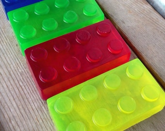 6 Building block soaps in red, blue green, & yellow - SLS free soap - Phthalate free - Birthday/shower party favors
