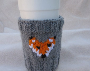 Hand-knitted Coffee Cup Sleeve, Knitted Fox Cup Sleeve, Gift Ideas, Great gift for a someone special