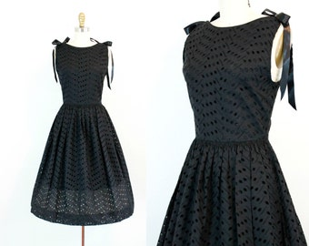 Vintage 1950s dress . The Funeral Party . black eyelet dress . 50s party dress . sm / md