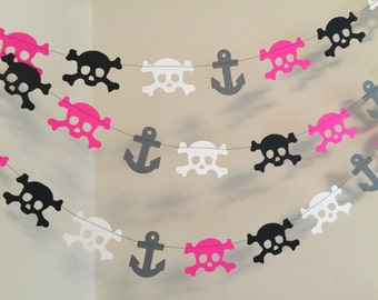 Pink Pirate Birthday banner / Girls Pirate Party Decorations / Pirate Garland / Skulls and Anchors Garland/ Pirate Birthday Decorations