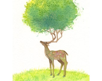 "Deer Art Print of Original Watercolor Painting - Whimsical Deer Illustration - Woodland Wall Art - Woodland Nursery Decor - 8 1/2"" x 11"""