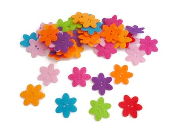 Shapes Felt flower button pre cut felt shapes small Fabric flower felt patch fabric accessories crafts