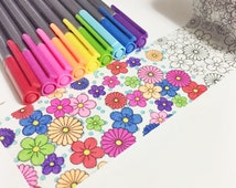 """Color Book Coloring Tape Flower Coloring Floral Washi Tape 5 meters by 50 millimeters 2"""" wide Black Flower Outline For Coloring"""