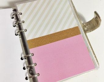 SALE Personal Size Light Pink Bottom Striped Beige Top Gold Glitter Center Stripe Laminated Dashboard Filofax Kikki k Planner