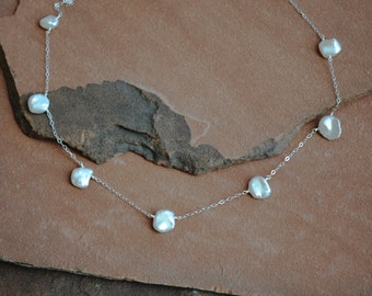 "Freshwater Pearl Necklace, Keshi Pearl Stations, Delicate Silver Chain, ""Tin Cup"" Style"