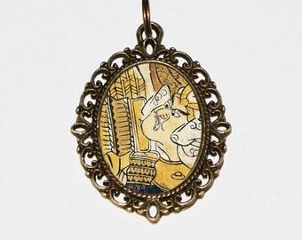 Samurai Necklace, Ukiyo-e, Japanese Woodblock Art, Samurai Jewelry, Edo Period, Oval Pendant