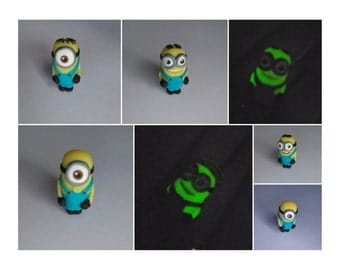 Minions that Glow-in-the-Dark! Handmade fimo charms
