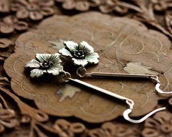 Flower Dangle Earrings Long Stick Flower Earrings Long Floral Earrings Flower Jewelry Sterling Silver Ear Wires Silver Floral Jewelry - E325