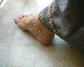 Silver ankle bells chain bellydance supplies bollywood gypsy hippie ankle bells hareem nomad