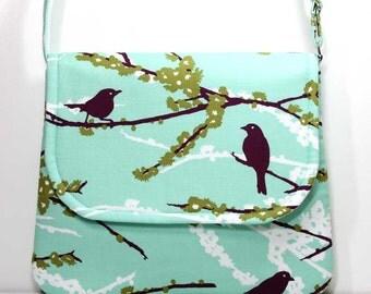 Medium Crossbody Bag Shoulder Purse Sling Bag Hobo Bag Cross Body Bag - Plum Birds / Sparrows on Aqua - Joel Dewberry Fabric - Made to Order