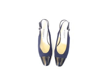 Vintage Navy Blue Heels with Black Patent Leather Accents. Size 9. Slingback Pumps. Made in Spain