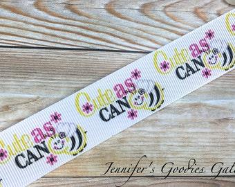 """Cute as Can Bee Ribbon, 1"""", Bee Ribbon, Bumble Bee Ribbon, Bees, Ribbon by The Yard, Ribbon for Bows, Hair Bow Supplies"""