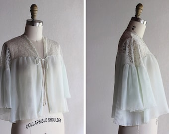 1960s Ice Blue Pleated Bed Jacket