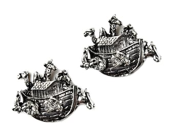 Noah's Ark Cufflinks - Gifts for Christians - Anniversary Gift - Handmade - Gift Box Included
