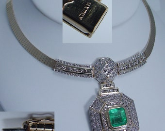 14K Yellow Gold 7.61ct Emerald 5.30cts Diamonds Chunky Necklace MNC Italy