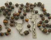 Rosary,  Sacred Heart of Jesus, Our Lady of Mt. Carmel, Tiger's Eye Stone, Strong, Stainless Steel, Five Decade, Handcrafted Gemstone Rosary