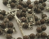 Rosary, Jasper, Italian Papal Crucifix, Ecce Homo, Brown Snowflake & Tigerskin Jasper, Strong, Stainless Steel, Handcrafted, Gemstone Rosary