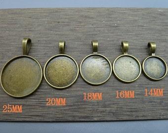 14-16-18-20-25 mm Filigree Cameo Cabochon Base Setting Pendants charm pendant
