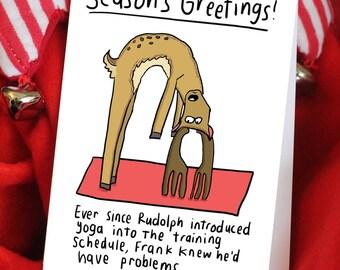 Funny Reindeer yoga Christmas card for yogis or yoga teachers
