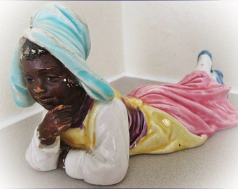 Vintage Figurine, African American Ceramic Girl, Cotton Picker, Old Cermaic Ornament, American Black Girl Figurine