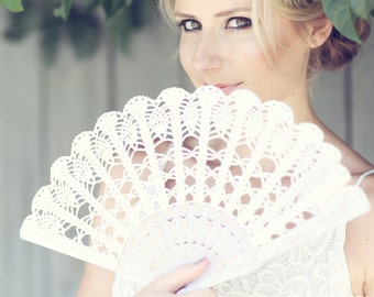 Lace Hand Fan- Ivory Hand Held Fan- Spain Hans Fan- Wedding Bouquet Alternative- Gift for Her Under 50-  Folding Hand Fan- Spanish Wedding