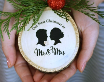 Custom Silhouette Rustic Wood Christmas Ornament - made with YOUR OWN Silhouettes - First Christmas Mr. & Mrs. Wedding Ornament