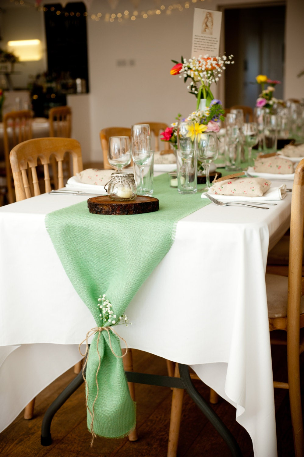 Mint Green Burlap Table Runner Mint Wedding Decor Seafoam