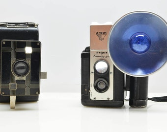 Vintage Art Deco Jiffy and Argus Seventy-Five TLR Retro Cameras, TTL Photography and Decor