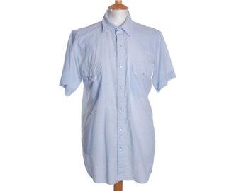 Vintage MILLER Western Shirt Pearl Snap Striped - L (15020)
