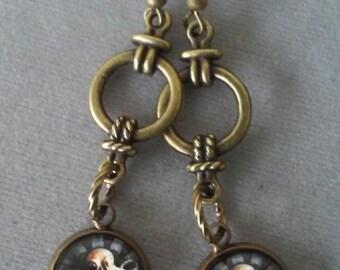 Antiqued Brass Octopus Earrings