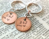 Personalized his and her stamped penny keychain, stamped anniversary penny, couples key chain, couples anniversary key chain