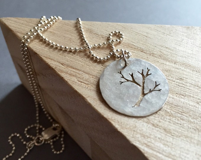 Sterling Silver Branch Necklace. Hand cut  Tree necklace