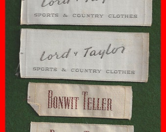 Vintage Embroidered  Sew In Clothing Labels Lord & Taylor Bonwit Teller Two Each
