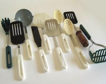 Bonny Spatula Spoon Ladle Spaghetti Server 1980s Vintage Kitchen Utensils Plastic Metal (as-is)
