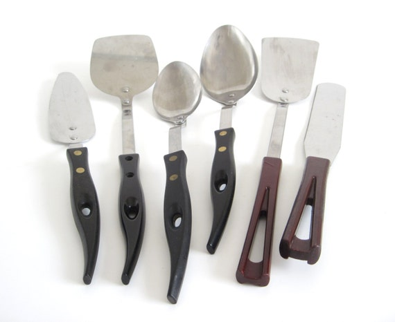 Stanley Stanhome Kitchen Utensils 1940s 1950s Stainless Bakelite Black or Marbled Handle Spatula, Spoon, Icing Spreader, Pie Server