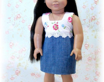 18 inch doll dress and necklace set - Denim/Floral dress and Rose Necklace