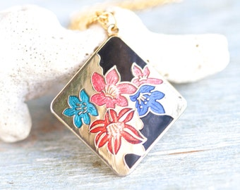 Art Nouveau Enamel Flowers Necklace - Diamond Shaped Pendant on Golden Chain