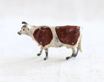 Tiny Lead Cow - Antique Miniature Iron Cast Farm Horse Toy - Made in England