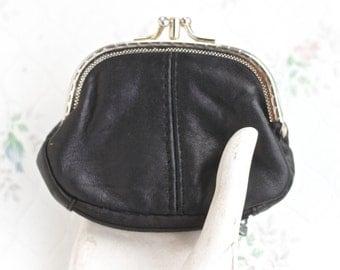 Vintage Twist Clasp Purse - Black Leather
