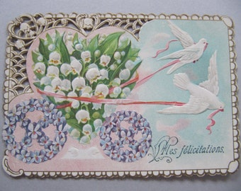 Victorian greeting card, small sized early 1900's greeting card postcard, antique French cards with lace-like cut outs and embossed design