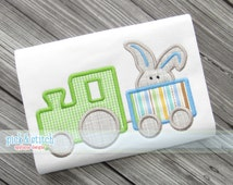 Easter Bunny Train Applique Design Machine Embroidery INSTANT DOWNLOAD