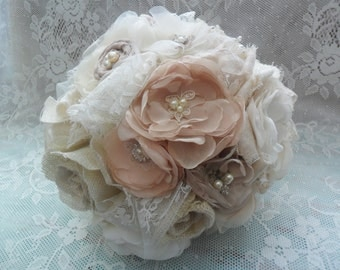 Bridal Bouquet, Wedding Brooch Bouquet, Vintage Wedding, Fabric Wedding Flowers, Champagne/Blush/Ivory Bouquet, Shabby Chic/Rustic Bouquet