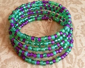 Memory Wire Bracelet in Green and Purple E Beads- Field Of Violets