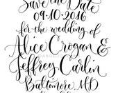 Save the Date Custom Handwritten Calligraphy Stamp