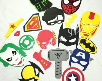 Superhero photo booth prop set 18 pc