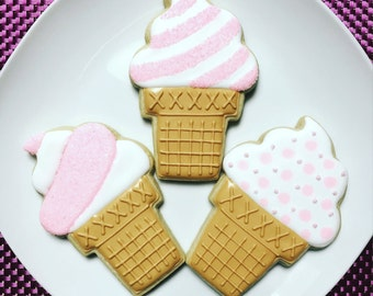 One Dozen Ice Cream Cone Sugar Cookies