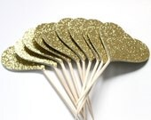 Gold Glitter Cupcake Toppers, Bridal Shower, Birthday Party, Valentines Day